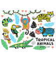 collection mountain animals with ethnic tribal vector image vector image