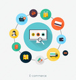 E-commerce flat poster with monitor and icons set vector image vector image