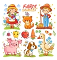 Farm cartoon set with animals vector image