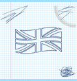 flag great britain line sketch icon isolated on vector image vector image