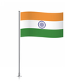 Flag of India waving on a metallic pole vector image vector image