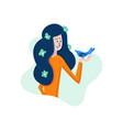 flat cartoon girl in hands holding bird vector image vector image