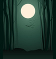 foggy forest in the light of the full moon vector image