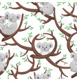funny seamless pattern with cartoon koalas vector image