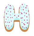 glazed donut font realistic letter h vector image