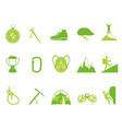 green color climbing mountain icons set vector image