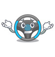 grinning steering wheel in the character shape vector image vector image
