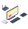 isometric gadget computer devices icons vector image vector image