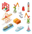isometric ships sea transport maritime terminal vector image vector image