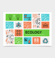linear ecology infographic template vector image