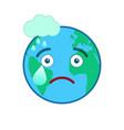 melancholy world globe isolated emoticon vector image