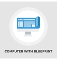 Monitor whit blueprint flat icon vector image