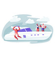 people traveling on luxury yacht at sea on summer vector image vector image