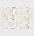 seamless golden line sea shells background vector image vector image