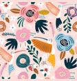 seamless pattern with cute colibri birds and vector image