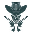 skull of a mustached cowboy with pistols vector image vector image