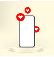 smartphone mockup with heart pictograms vector image