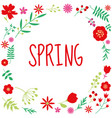 spring floral circle frame design on white vector image