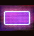 square neon frame template on a brick wall vector image vector image