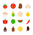 summer vegetables objects vector image