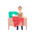 tailor man sitting behind table with sewing vector image vector image