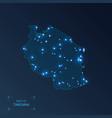 tanzania map with cities luminous dots - neon vector image vector image