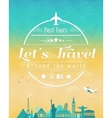 Travel composition with famous world landmarks and vector image