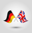 two crossed german and british flags vector image vector image