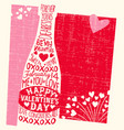 valentines day hand drawn champagne hearts vector image vector image