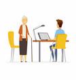 volunteer help senior woman - cartoon people vector image