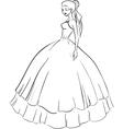 Beautiful bride in wedding dress vector image