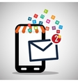 mobile phone receiving email marketing virtual vector image
