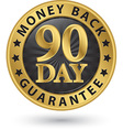 90 day money back guarantee golden sign vector image vector image