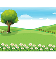 A hilltop with a garden and a giant tree vector image vector image