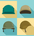 army helmet icon set flat style vector image