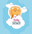 baby shower cute lion clouds celebration welcome vector image vector image
