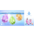 bath bombs in water spa cosmetics beauty product vector image vector image