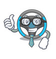 businessman steering wheel in the character shape vector image vector image