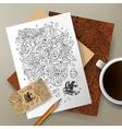 Cartoon cute doodles Coffee corporate vector image vector image