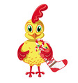 Cheerful Cockerel with Christmas sweets vector image vector image