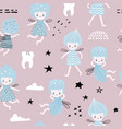 childish seamless pattern with cute fairy vector image