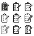 clipboard pencil icon set vector image vector image