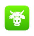 cow head icon green vector image