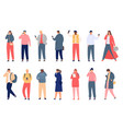 crowd holding smartphone walking and standing vector image vector image