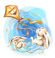 cute little rabbits fly on a kite vector image vector image