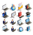 e-learning isometric icon set vector image vector image