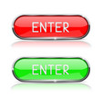 enter buttons red and green oval glass buttons vector image vector image