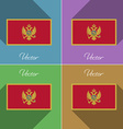 Flags Montenegro Set of colors flat design and vector image vector image