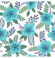 floral pattern with bright blue flowers plants vector image vector image