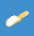 flour in wooden scoop isolated isometry cereals vector image